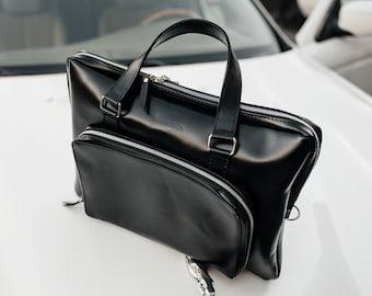 Laptop men handbag, black leather custom bag, office business briefcase, document portfolio case