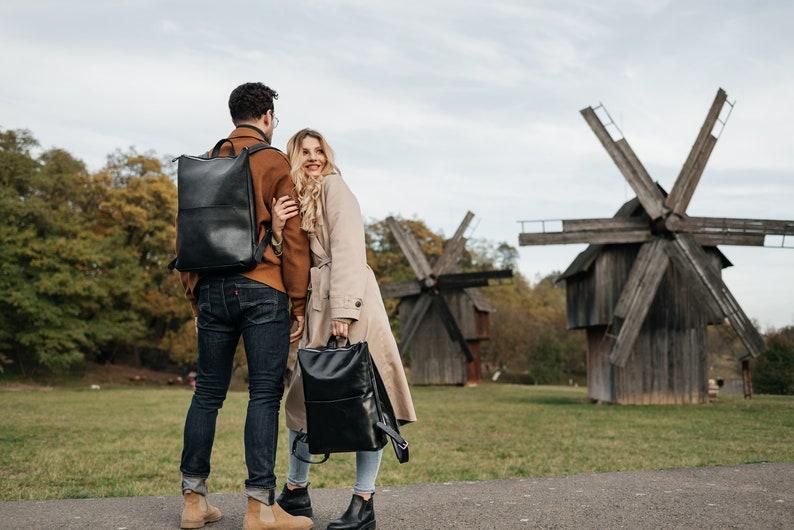 Laptop leather backpack personalized black travel bag women school or college rucksack men work office backpack