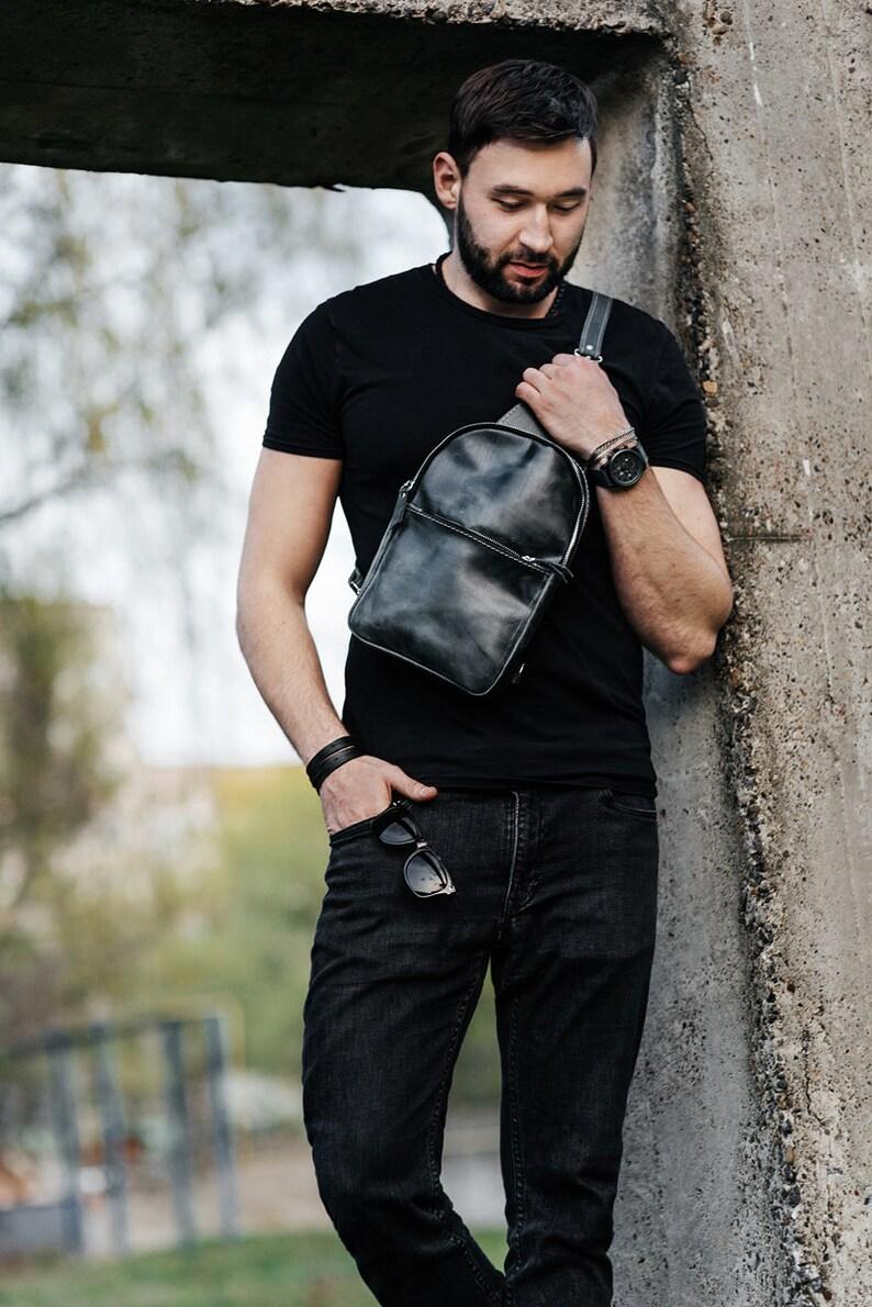 for men backpack casual bag gift for men brown leather sling bag vintage bag Leather bag gift for him crossbody sling leather bag