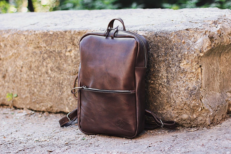 City Backpack Mens Backpacks For Work Brown Leather Etsy
