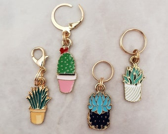 Cactus Stitch Markers for Knitting, 4pc mixed set | Crochet stitch marker, progress keeper, project bag charms, crochet accessories