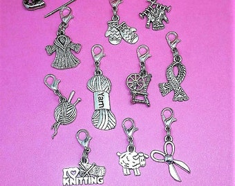 Knitting Progress Keeper set 10 pc | Removable Crochet Stitch Marker, Project bag charm, Progress marker, Knit row counter, Gift for Knitter