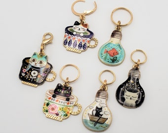 Cat Stitch Markers for Knitting, 3 or 6pc Teacups and Bulbs | Crochet stitch marker, progress keeper, project bag charms, crochet accessory