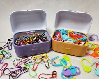 Locking Stitch Markers for Knitting and Crochet, Plastic or metal Bulb Safety Pins, with Small Hinged Notions tin