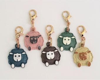 Sheep Stitch Markers for Knitting 5pc Fluffy | Crochet stitch marker, progress keeper, project bag charm, crochet accessory, knitting marker