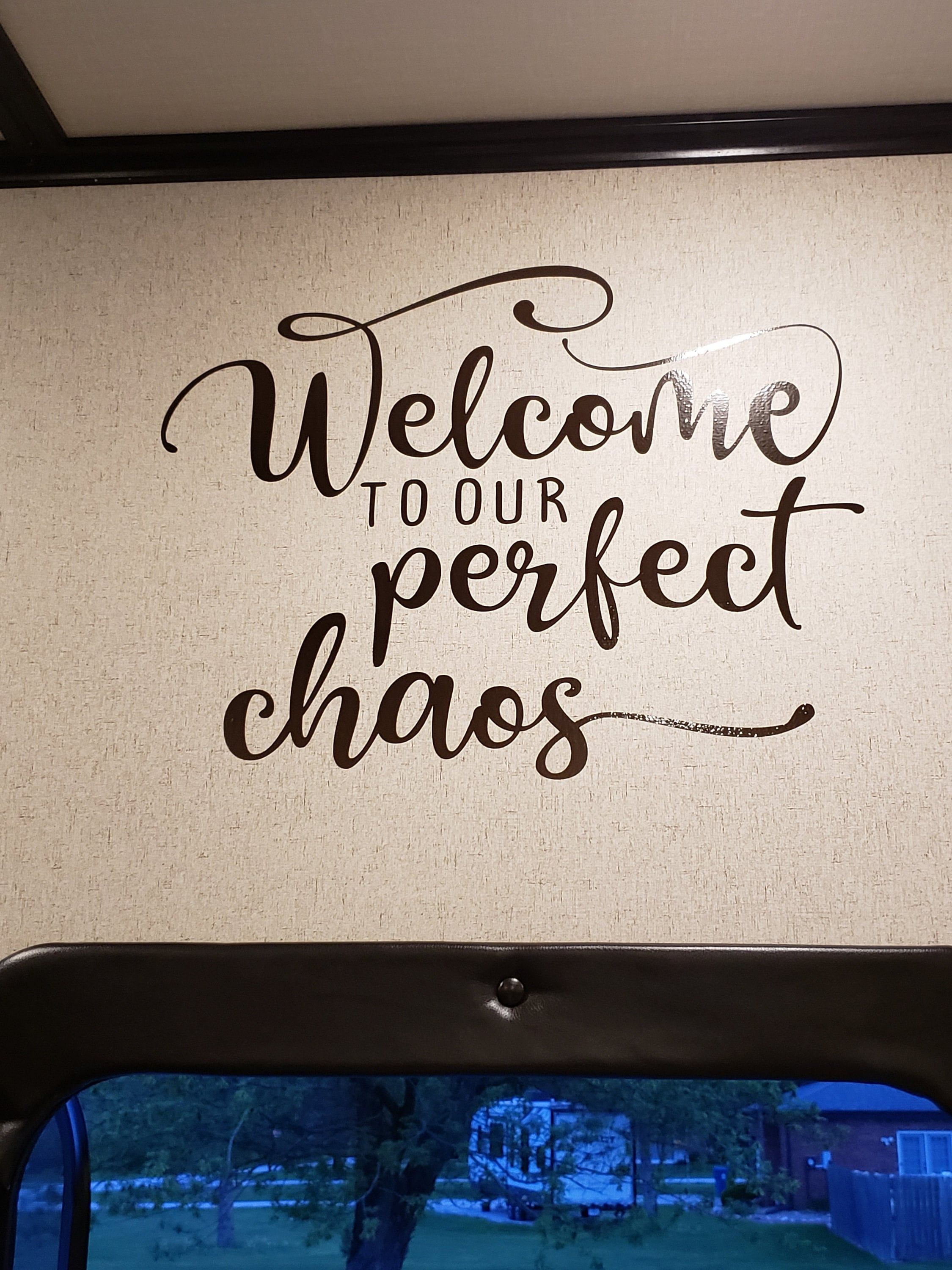 Welcome to our perfect chaos camping vinyl decal camper decal rv vinyl decal sticker camper decor trailer sticker vinyl lettering decal