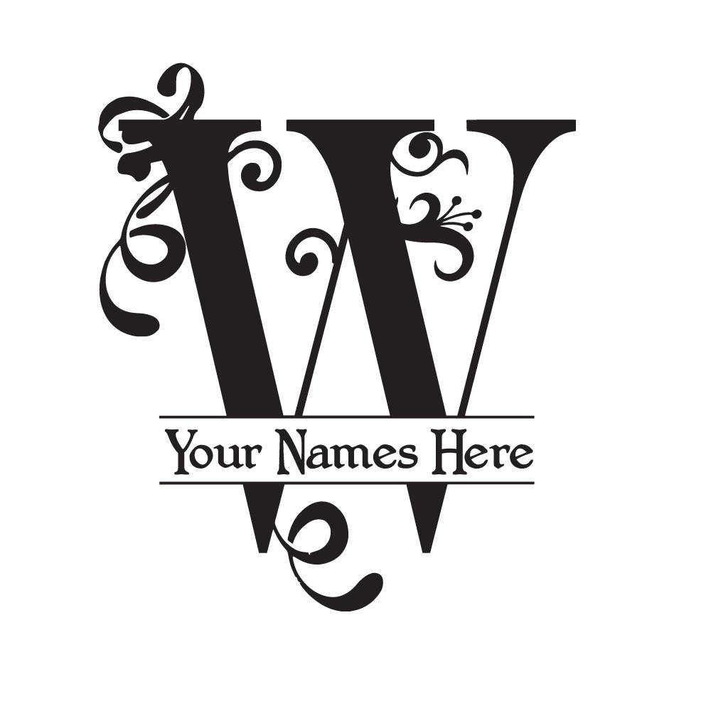 monogram w - flourish with initial and names