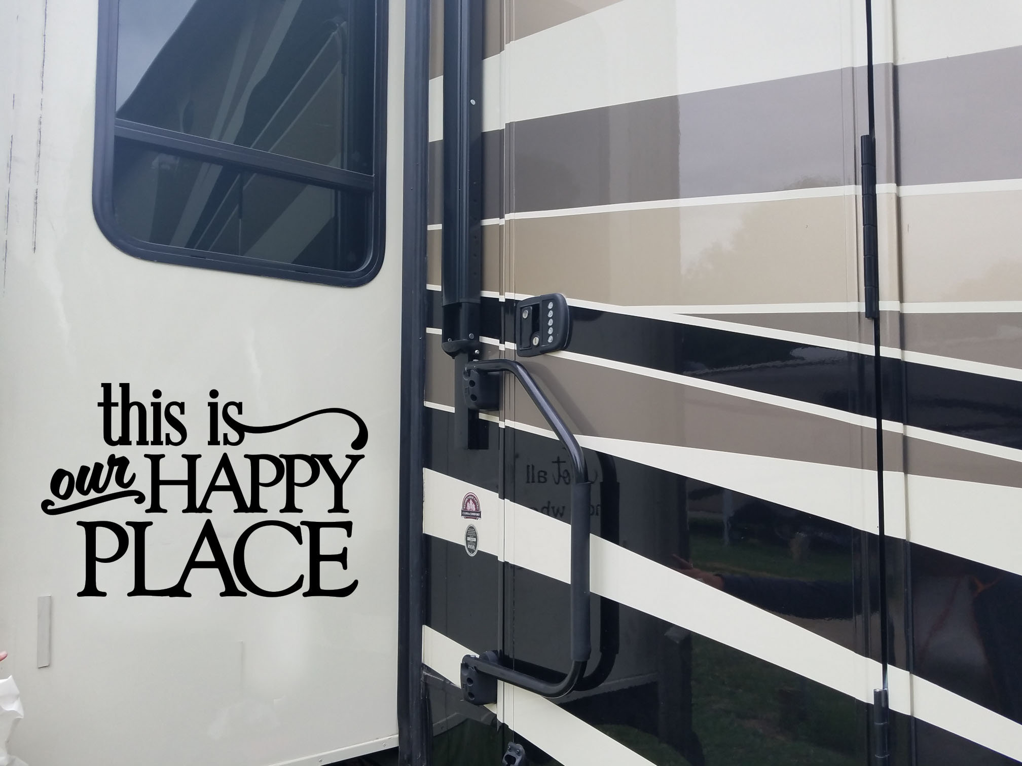 This is our happy place vinyl decal camper decal rv vinyl decal sticker camper decor trailer sticker vinyl lettering decal