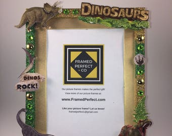 Dinosaurs Picture Frame 5x7 for a Birthday Gift, Room Decoration, or Christmas Gift
