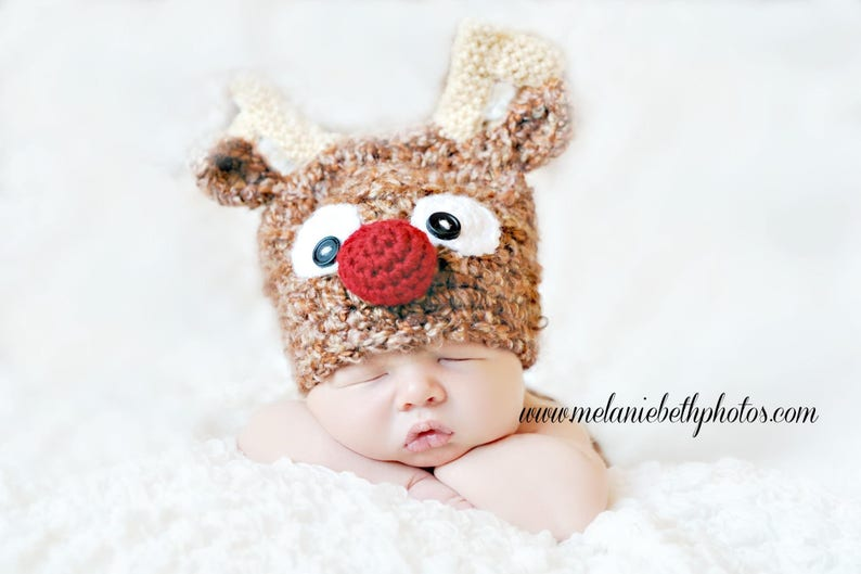 7de0560a54324 PRE-ORDER Newborn Baby Reindeer Hat, Holiday Hat, Made to Order