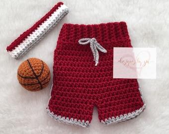 PRE-ORDER Newborn, Baby Basketball Team Shorts, Basketball, Sweatband, Photography Prop