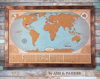 Scratch off map etsy scratch off world travel map in beautiful vintage style graduation gift travel gifts extra large 24 x 36 gumiabroncs Image collections