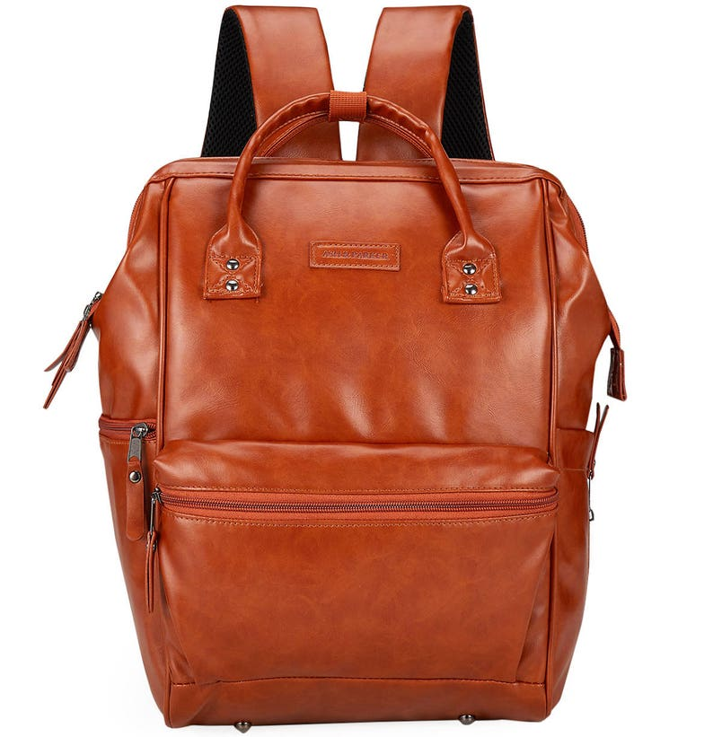 241b3ef34c49 Classic Saddle Brown Leather Diaper Bag Backpack Wide Open