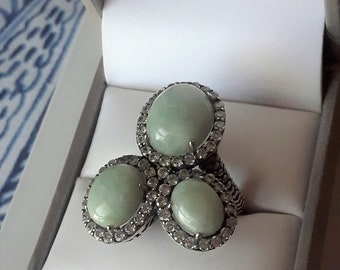 Sterling silver genuine Jade and white zircon ring size 8.