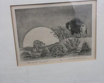 "Hand signed Woody Crumbo print "" The Last Sunset"""