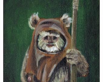 Wicket the Ewok Star Wars Acrylic Paint 8x10 Art Print