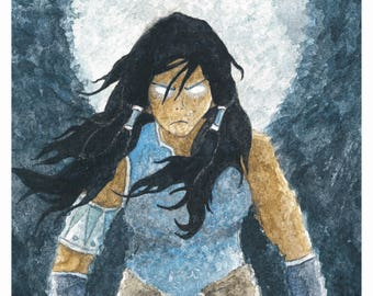 Legend of Korra Avatar Watercolor 8x10 Art Print