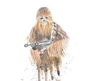 Chewbacca Star Wars Watercolor 8x10 Print
