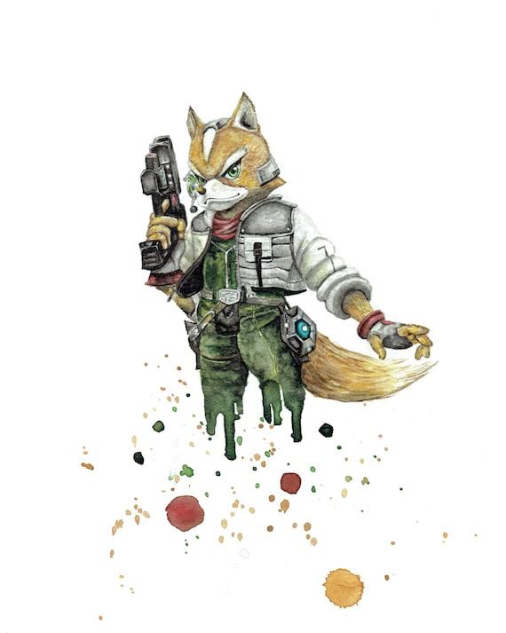 Fox Mccloud Starfox Nintendo Super Smash Bros 8x10 Watercolor Art Print