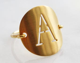 Solid Gold Cut Out Letter Ring