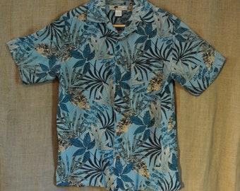 c4824a02 Mens Vintage Teal Hawaiian Shirt JOE MARLIN Beach Wedding Tropical Foliage  Casual Cruise Resort Wear – Size M Medium FREE U.S. Shipping