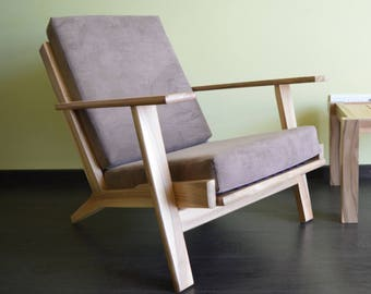 Lounge Chair, Danish furniture 1960-s,Natural wood,Outdoor furniture,Cushioned furniture,Solid wood,Vintage furniture,Many Colours Available