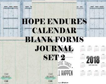 Set 2 Hope Endures Calendar Blank Forms Journal- instant download