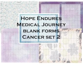 Set 2 Hope Endures Medical Journey Blank Forms Cancer Journal- instant download