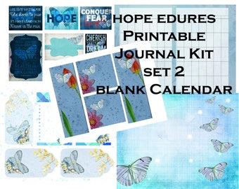 Set 2 Hope Endures Printable Journal Calendar Kit- instant download
