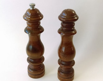 "Vintage Woodcrest by Styson Wooden Salt and Pepper Shaker/Mill Made in Japan 7"" Tall"