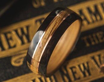 Mens Wedding band with Whisky Barrel Oak, Ebony and Copper inlay,  Mens Wedding Band, Wood wedding band, Wood Wedding Band