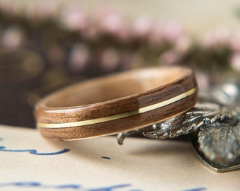Womens Wedding band made from Birds eye Maple with Walnut and Brass Inlay, Promise ring, Wooden ring