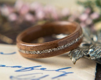 Womens Wedding band made from Walnut with German Glass Inlay, Promise ring, Wooden ring