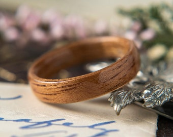 Womens Wedding band made from Koa Wood, Promise ring, Wooden ring