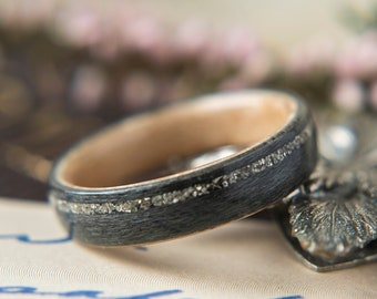 Womens Wedding band made from Birds eye Maple, Grey maple with Offset German Glass,  Promise ring, Wooden ring