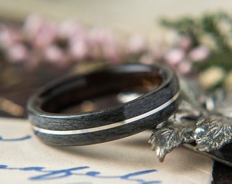 Womens Wedding band made from Ebony, Grey Maple with Silver Inlay. Promise ring, Wooden ring