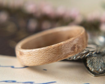 Womens Wedding band made from Birds eye Maple, Promise ring, Wooden ring