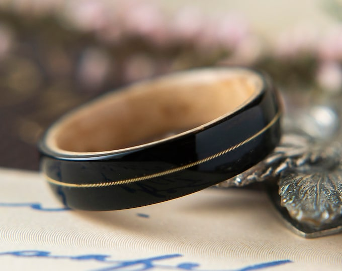 Womens Wedding band made from Birds eye Maple with Ebony and Guitar string Inlay, Promise ring, Wooden ring