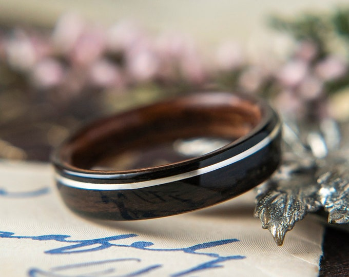 Womens Wedding band made from Rosewood, Ebony with Offset Silver. Promise ring, Wooden ring