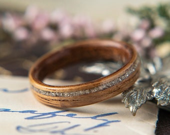 Womens Wedding band made from Mahogany, Koa with Offset German Glass. Promise ring, Wooden ring