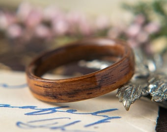 Womens Wedding band made from Santos Rosewood, Promise ring, Wooden ring