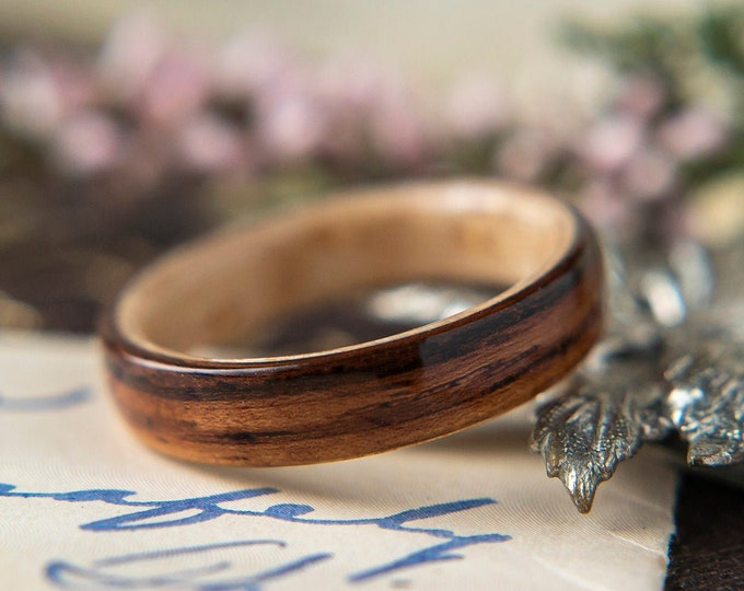 Womens Wedding band made from Birdseye Maple with Rosewood, Promise ring, Wooden ring