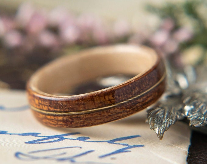Womens Wedding band made from Birds eye Maple with Mahogany and Guitar string Inlay, Promise ring, Wooden ring