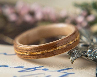Womens Wedding band made from Birds eye Maple with Koa and Gold Flake Inlay, Promise ring, Wooden ring