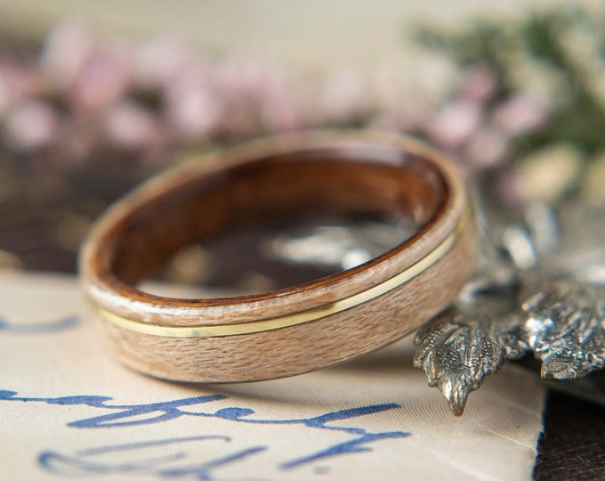 Womens Wedding band made from Rosewood, Birdseye and Offset Brass Inlay, Promise ring, Wooden ring