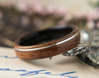Womens Wedding band made from Ebony, Rosewood with Offset Silver Inlay. Promise ring, Wooden ring