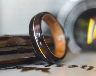 Mens Wedding band made from Birds eye maple, Ebony and Silver wire inlay, Mens engagement ring, Mens promise ring