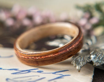 Womens Wedding band made from Birds eye Maple with Rosewood and Offset Rose Gold Inlay,  Promise ring, Wooden ring