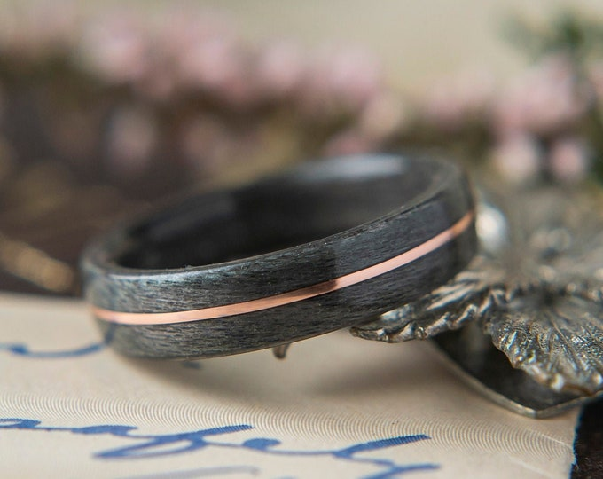 Womens Wedding band made from Grey Maple with centered Copper Inlay, Promise ring, Wooden ring
