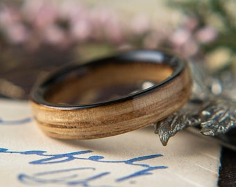 Womens Wedding band made from Whisky Oak, Promise ring, Wooden ring
